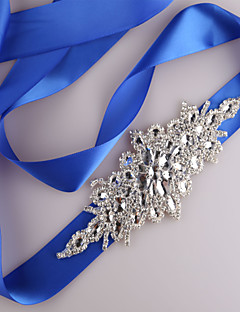 cheap Wedding Ribbons and Sashes-Satin Wedding Party / Evening Dailywear Sash With Rhinestone Beading Sequin Women's Sashes