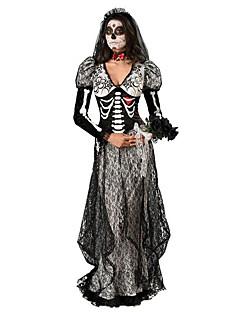Ghostly Morsian Cosplay-Asut Juhla-asu Naiset Halloween Kuolleiden päivä Festivaali / loma Halloween-asut Musta Painettu