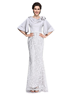 cheap Mother of the Bride Dresses-Mermaid / Trumpet Cowl Neck Ankle Length Lace Satin Chiffon Mother of the Bride Dress with Lace Flower by LAN TING BRIDE®