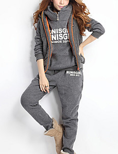 Women's Going out / Sports Simple / Active All Seasons Set PantLetter Hooded Long Sleeve Pink / Red / Gray Cotton
