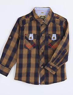 Jungen Hemd-Lässig/Alltäglich Hahnentrittmuster Baumwolle Herbst Gelb