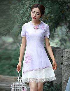 Χαμηλού Κόστους Chinoiserie Dresses-Γυναικείο Εξόδου Μεγάλα Μεγέθη Βίντατζ Θήκη Φόρεμα,Κέντημα Κοντομάνικο Στρογγυλή Λαιμόκοψη Πάνω από το Γόνατο Πολυεστέρας Καλοκαίρι