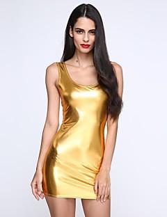 vrouwen diepe u mini jurk, pu zwart / goud / zilver sexy / bodycon / casual / partij / werk