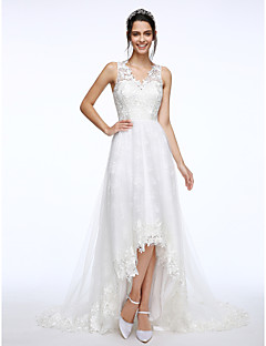 Cheap wedding dresses online wedding dresses for 2018 a line v neck court train lace tulle custom wedding dresses with appliques by lan ting bride junglespirit Images