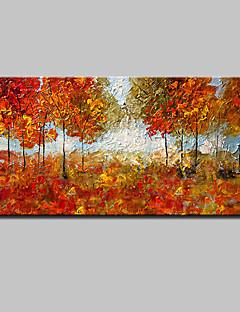 tanie Pejzaże abstrakcyjne-Hang-Malowane obraz olejny Ręcznie malowane - Kwiatowy / Roślinny Nowoczesny / Fason europejski Z ramą / Rozciągnięte płótno