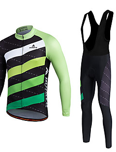 Miloto Cycling Jersey with Bib Tights Men's Unisex Long Sleeves Bike Clothing Suits Thermal / Warm Quick Dry Fleece Lining Moisture