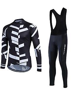 חולצת ג'רסי וטייץ ביב לרכיבה בגדי ריקוד גברים שרוול ארוך אופניים מדים בסטים שמור על חום הגוף עמיד גיזות קלאסי חורף רכיבה על