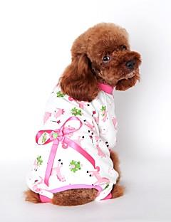 billiga Hundkläder-Katt Hund Jumpsuits Pyjamas Hundkläder Tecknat Gul Blå Rosa Cotton Kostym För husdjur Herr Dam Gulligt Ledigt/vardag