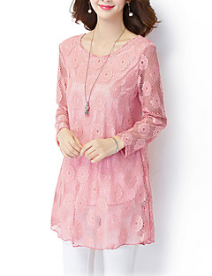 Women's Lace Plus Size / Casual/Daily Vintage / Simple Fall / Winter ShirtSolid Round Neck Long Sleeve Pink / Polyester