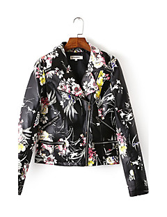 Women's Casual/Daily Simple Fall Leather JacketsFloral Notch Lapel Long Sleeve Black Cotton Medium