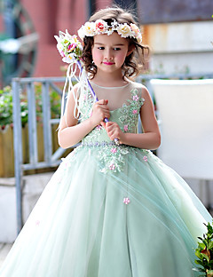 cheap Flower Girl Dresses-Ball Gown Floor Length Flower Girl Dress - Tulle Charmeuse Sleeveless Jewel Neck with Beading Lace Flower by Huaxirenjiao