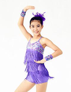 Dança Latina Vestidos Mulheres Crianças Actuação Elastano Poliéster Lantejoulas 4 Peças Sem Mangas Alto Vestido Braceletes Tiaras