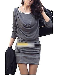 billige Minikjoler-Dame Skede Kjole - Ensfarvet, Krøllede Folder Mini Over knæet