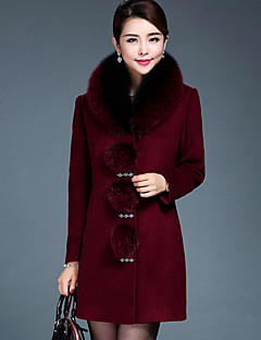 Women's Daily Going out Vintage Winter Fall Vest,Solid Hooded Long Sleeve Long Wool Fox Fur