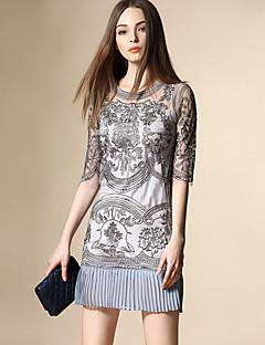 女性 ストリートファッション お出かけ / プラスサイズ ドレス,刺しゅう ラウンドネック 膝上 ハーフスリーブ ブルー / ピンク / グレイ ポリエステル 夏 ミッドライズ 伸縮性なし