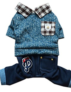 billiga Hundkläder-Hund Jumpsuits Hundkläder Färgblock Blå / Rosa Jeans / Cotton Kostym För husdjur Herr / Dam Mode