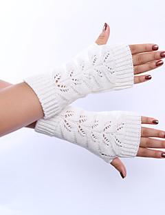 Dame Vintage Søtt Fest Kontor Fritid Håndleddslengde Halv Finger,Høst Vinter Solid Akryl