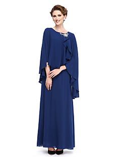 baratos Vestidos para as Mães dos Noivos-Tubinho Scoop pescoço Até o Tornozelo Georgette Vestido Para Mãe dos Noivos com Broche de Cristal de LAN TING BRIDE®