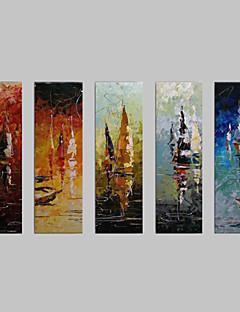 baratos Paisagens Abstratas-Pintados à mão Paisagem Tela de pintura Pintura a Óleo Decoração para casa 5 Painéis