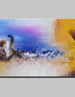 tanie Pejzaże abstrakcyjne-Hang-Malowane obraz olejny Ręcznie malowane - Abstrakcja Pejzaż abstrakcyjny Nowoczesny Z ramą