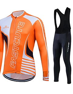 Fastcute Cycling Jersey with Bib Tights Men's Women's Unisex Long Sleeves Bike Clothing Suits Thermal / Warm Quick Dry Fleece Lining