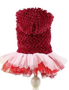 billiga Hundkläder-Hund Huvtröjor Klänningar Hundkläder Enfärgad Purpur Röd Polär Ull Kostym För husdjur Dam Gulligt Födelsedag Håller värmen