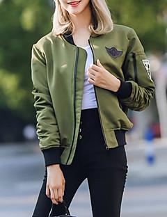 Damen Solide Niedlich Ausgehen Jacke,Herbst Ständer Langarm Grün Mittel Polyester