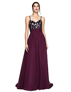 cheap Special Occasion Dresses-A-Line Spaghetti Straps Sweep / Brush Train Chiffon Prom / Formal Evening Dress with Sequin Ruched by TS Couture®
