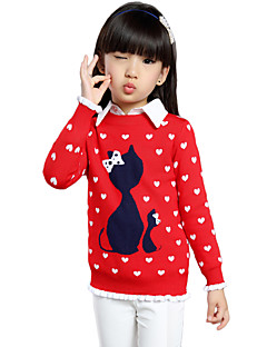 Girl's Cotton Spring/Fall Sweet Fashion Casual/Daily Heart-shaped Cat Long Sleeves Round Neck Sweater Knitted Pullovers