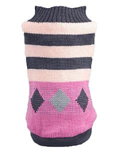 猫用品 犬用品 セーター 犬用ウェア 冬 春/秋 縞柄 カジュアル/普段着 ピンク
