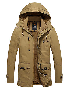 Χαμηλού Κόστους Αντρικά παλτά για άντρες-Ανδρικά Μακρύ Βαμβάκι Ενισχυμένο - Μονόχρωμο Με Κουκούλα