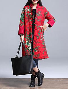 Kadın Çiçekli Vintage Günlük/Sade / Büyük Beden Kaban,Pamuklu Polyester Uzun Dolgulu-Uzun Kollu Dik Yaka Kırmızı