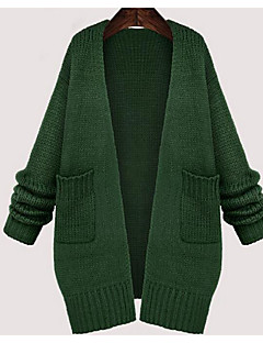 Women's Plus Size / Casual/Daily Simple Regular Cardigan,Solid Green Round Neck Long Sleeve Cotton Winter Medium Micro-elastic
