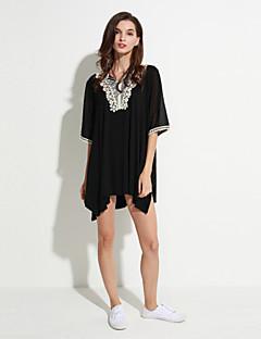 billige Plusstørrelser-V-hals Dame - Ensfarvet Blonder Plusstørrelser T-shirt / Sommer
