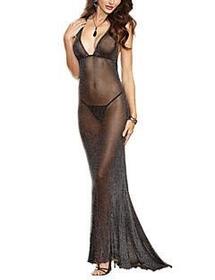 cheap -Women's Ultra Sexy Chemises & Gowns Nightwear Solid Polyester Spandex Black