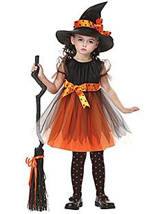 billige Barnekostymer-Trollmann / heks Cosplay Kostumer Maskerade Party-kostyme Film-Cosplay Oransje Kjole CAP konstruktion Halloween Nytt År Barnas Dag