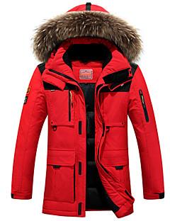 コート ダウン メンズ,プラスサイズ ソリッド ポリエステル ホワイトダックダウン-ストリートファッション 長袖 フード付き