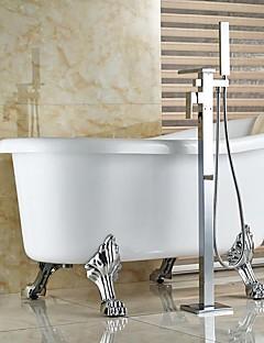 tanie Wodospad-Współczesny Art Deco/Retro Nowoczesny Wanna i prysznic Wodospad Wyciągana Wylewka Podłogowy Zawór ceramiczny Pojedynczy uchwyt jeden otwór