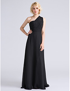 Sheath / Column One Shoulder Floor Length Chiffon Bridesmaid Dress with Side Draping Ruching by LAN TING BRIDE®