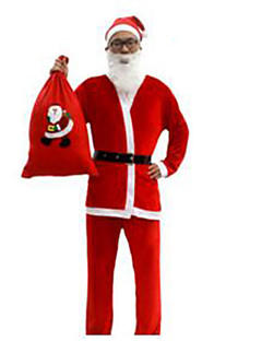 Male Christmas Festival / Holiday Halloween Costumes Red Solid