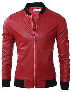 Masculino Jaquetas de Couro Casual Simples Outono / Inverno,Sólido Vermelho / Preto / Verde Poliuretano Colarinho Chinês-Manga Longa
