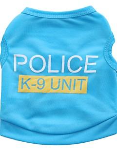 billiga Hundkläder-Katt Hund T-shirt Hundkläder Polis/Militär Svart Ros Blå Rosa Terylen Kostym För husdjur Herr Dam Gulligt Ledigt/vardag
