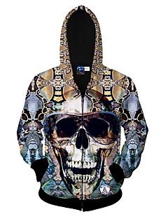 billige Hættetrøjer og sweatshirts til herrer-Herre Sport Aktiv Langærmet Rund hals Hættetrøje Jakke - Dødningehoveder