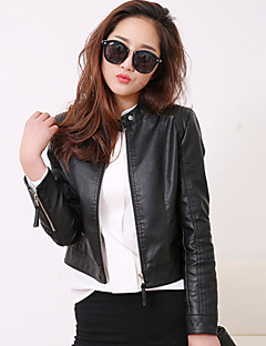 Women's Daily Street chic Spring Fall Leather Jacket,Solid Stand Long Sleeve Short PU
