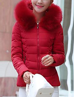Manteau Doudoune Femme,Court Mignon Décontracté / Quotidien Couleur Pleine-Polyester Duvet de Canard Blanc Manches LonguesRose / Rouge /