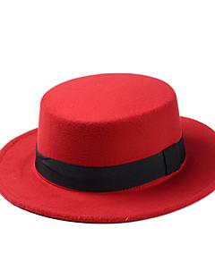 billige Trendy hatter-Dame Vintage Fritid Fedora,Alle årstider Ensfarget Ull Rød Blå Rosa Vin Marineblå