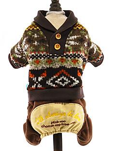 billiga Hundkläder-Hund Tröjor Jumpsuits Hundkläder Blommig/Botanisk Mörkblå Grå Kaffe Cotton Kostym För husdjur Herr Dam Semester Håller värmen Mode