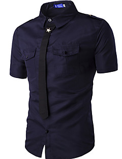Men's Casual/Daily Simple Summer Shirt,Solid Shirt Collar Short Sleeves Cotton Medium