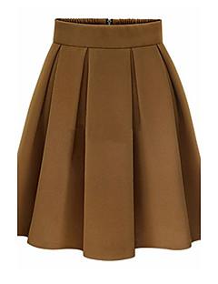 Vintage / Jednostavno Ženski Suknje-Iznad koljena,Neelastično Pamuk / Umjetna svila