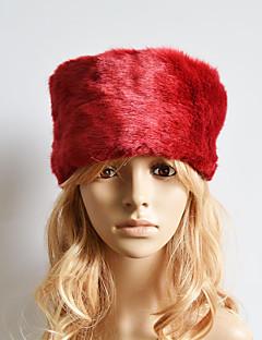 billige Trendy hatter-Dame Søtt Fritid Skilue,Vinter Ensfarget Fuskepels Brun Rød Kakifarget